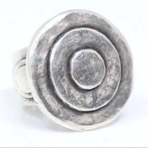 Jewelry - Silver Tone Hammered Target CHUNKY Ring 6